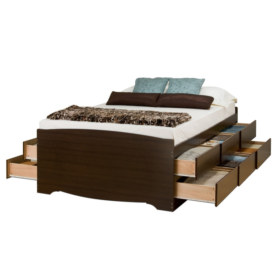 Shop Prepac Furniture Captains Espresso Queen Platform Bed With Storage At