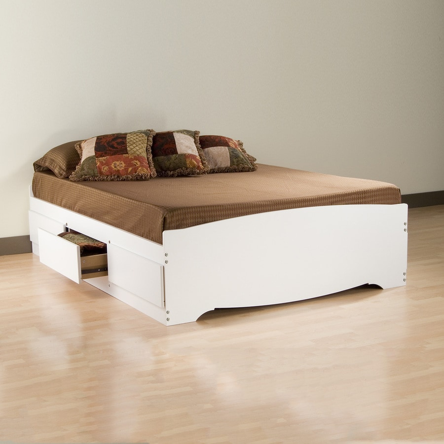 Shop Prepac Furniture Mate 39 S White Queen Platform Bed With Storage At