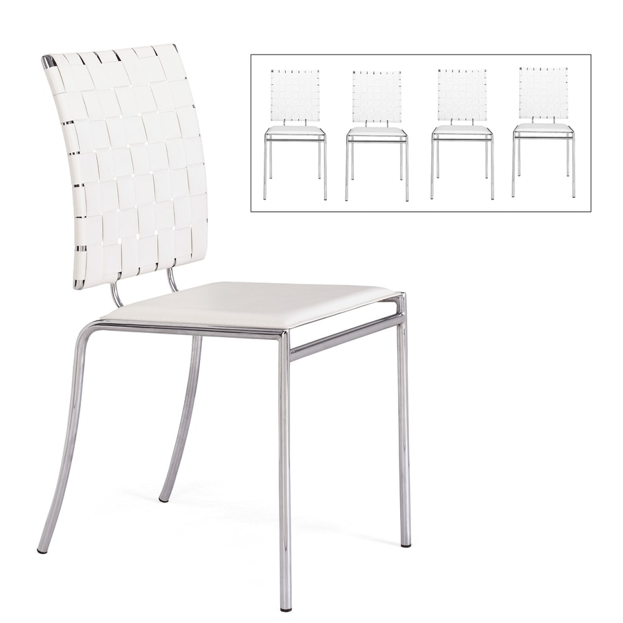 Zuo Modern Set of 4 Criss Cross White/Chrome Side Chairs