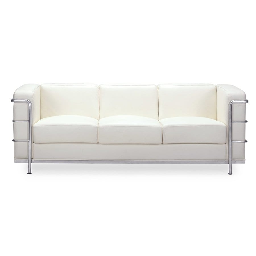 Shop zuo modern fortress white faux leather stationary sofa at - Modern sofa white ...