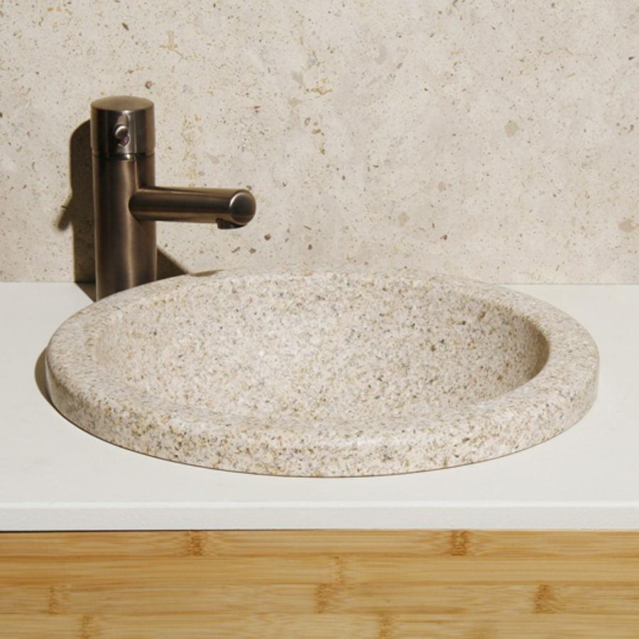 Round Granite Sink : ... Lathe Desert Yellow Granite Drop-In Round Bathroom Sink at Lowes.com