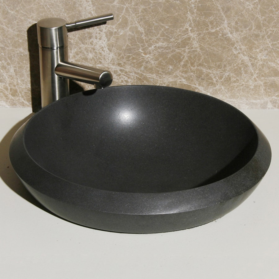 Shop allstone black lava stone vessel round bathroom sink at for Black granite vessel bathroom sinks