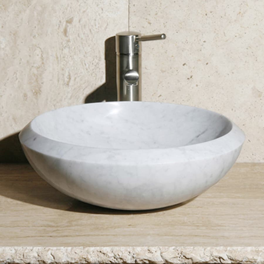 White Marble Vessel Sink : ... Allstone Carrara White Marble Vessel Round Bathroom Sink at Lowes.com
