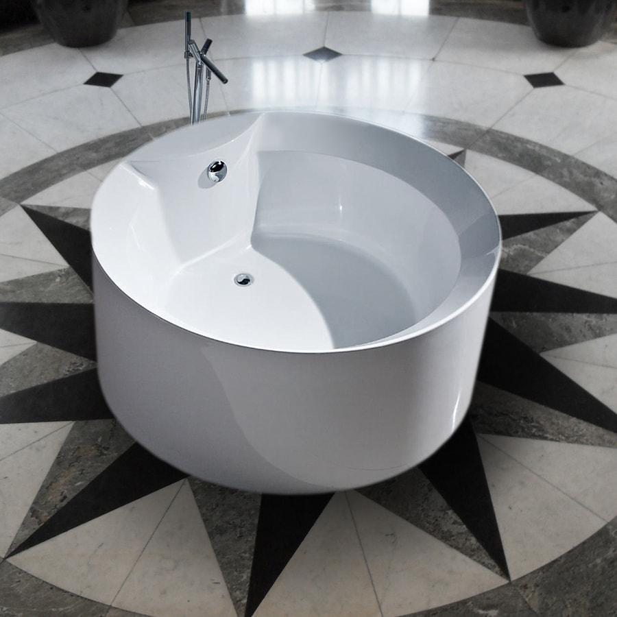 Shop Aquatica Purescape Acrylic High Gloss White Round Freestanding Bathtub W