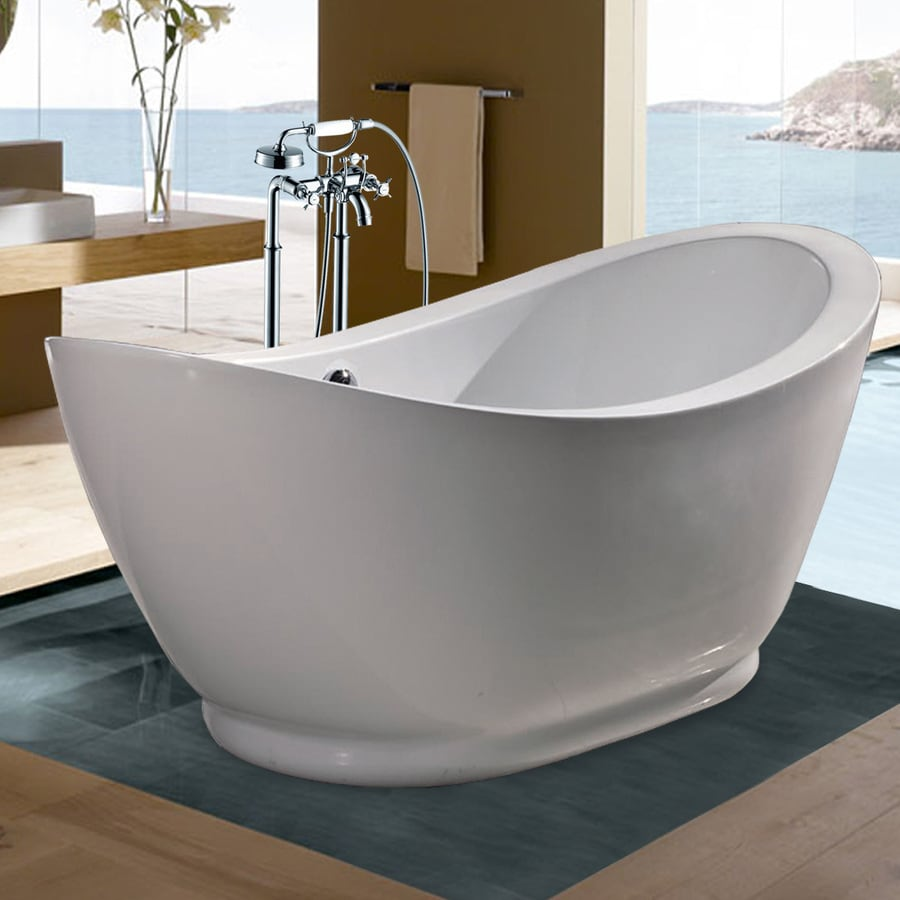 Aquatica Purescape Acrylic High Gloss White Oval Freestanding Bathtub with Center Drain (Common: 34-in x 65-in; Actual: 30-in x 34-in x 65-in)