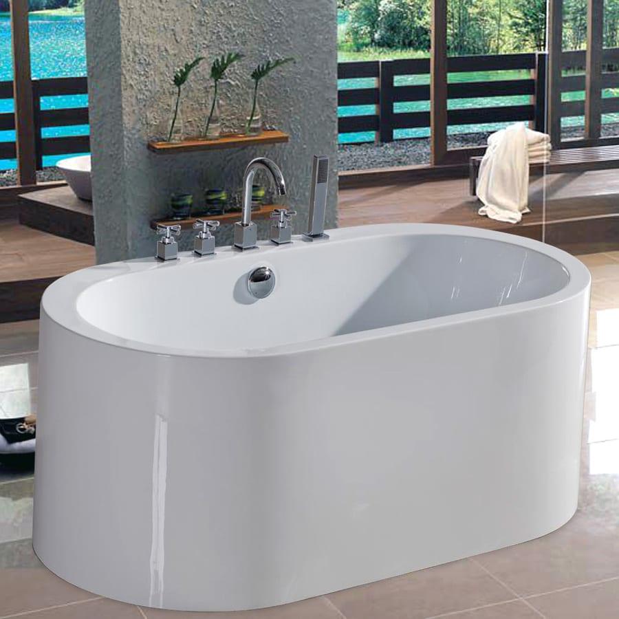Shop Aquatica Purescape Acrylic High Gloss White Oval Freestanding Bathtub Wi