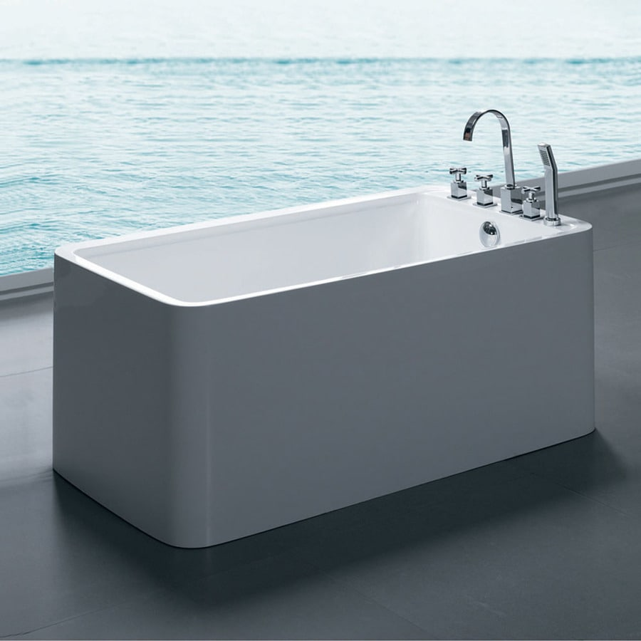 Aquatica Purescape Acrylic High Gloss White Rectangular Freestanding Bathtub with Reversible Drain (Common: 30-in x 55-in; Actual: 22.8-in x 29.5-in x 55-in)