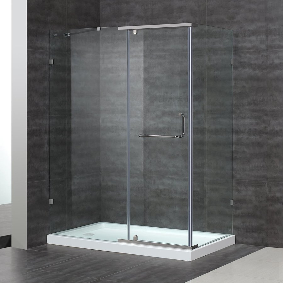 Aston 38.37-in to 60-in Polished Chrome Pivot Shower Door