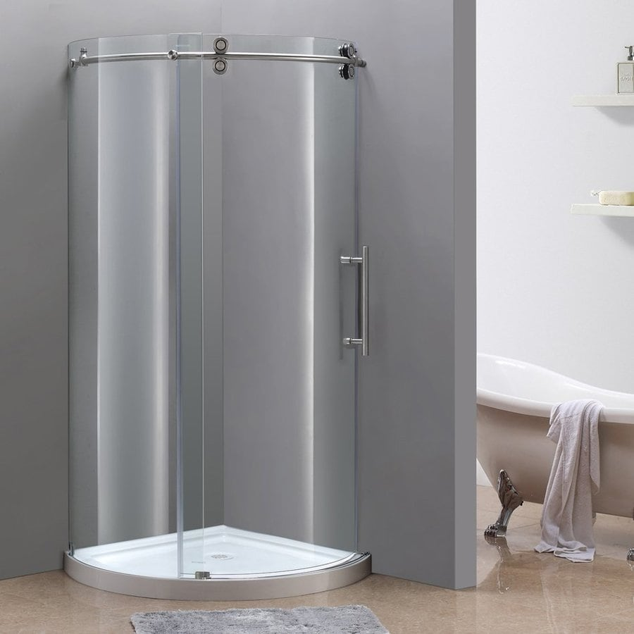 Aston 19.25-in to 40-in W x 75-in H Stainless Steel Sliding Shower Door