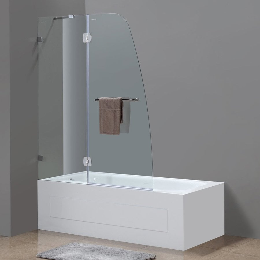 Aston 26.37-in to 48-in Polished Chrome Frameless Hinged Shower Door