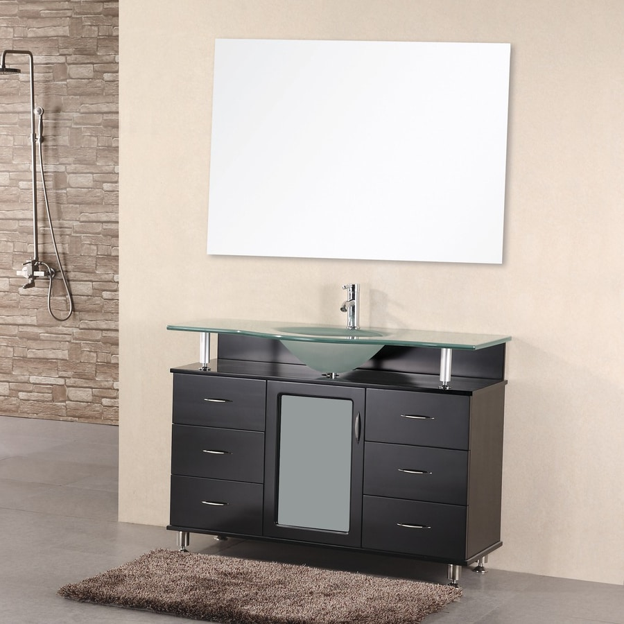 Design Element Huntington Espresso Integral Single Sink Oak Bathroom Vanity with Tempered Glass and Glass Top (Common: 48-in x 22-in; Actual: 48-in x 22-in)