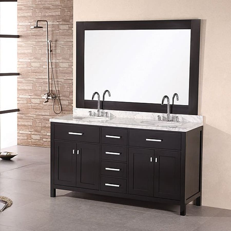 Design Element London Espresso Undermount Double Sink Oak Bathroom Vanity with Natural Marble Top (Mirror Included) (Common: 61-in x 22-in; Actual: 61-in x 22-in)