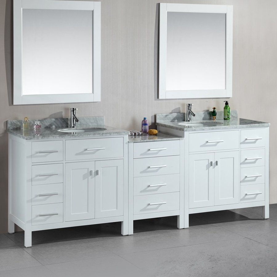 Design Element London White Undermount Double Sink Oak Bathroom Vanity with Natural Marble Top (Mirror Included) (Common: 92-in x 22-in; Actual: 92-in x 22-in)
