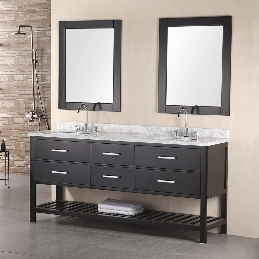 Design Element London Espresso Undermount Double Sink Oak Bathroom Vanity with Natural Marble Top (Mirror Included) (Common: 72-in x 22-in; Actual: 72-in x 22-in)