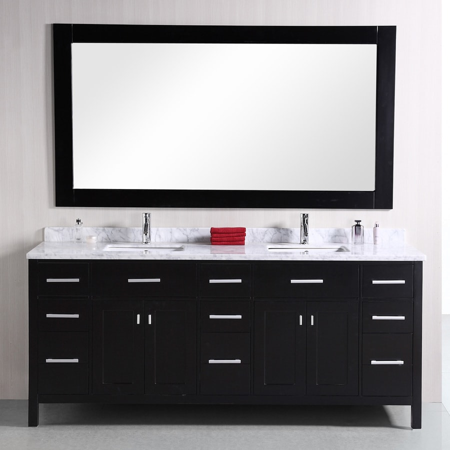 Design Element London Espresso Undermount Double Sink Oak Bathroom Vanity with Natural Marble Top (Mirror Included) (Common: 78-in x 22-in; Actual: 78-in x 22-in)