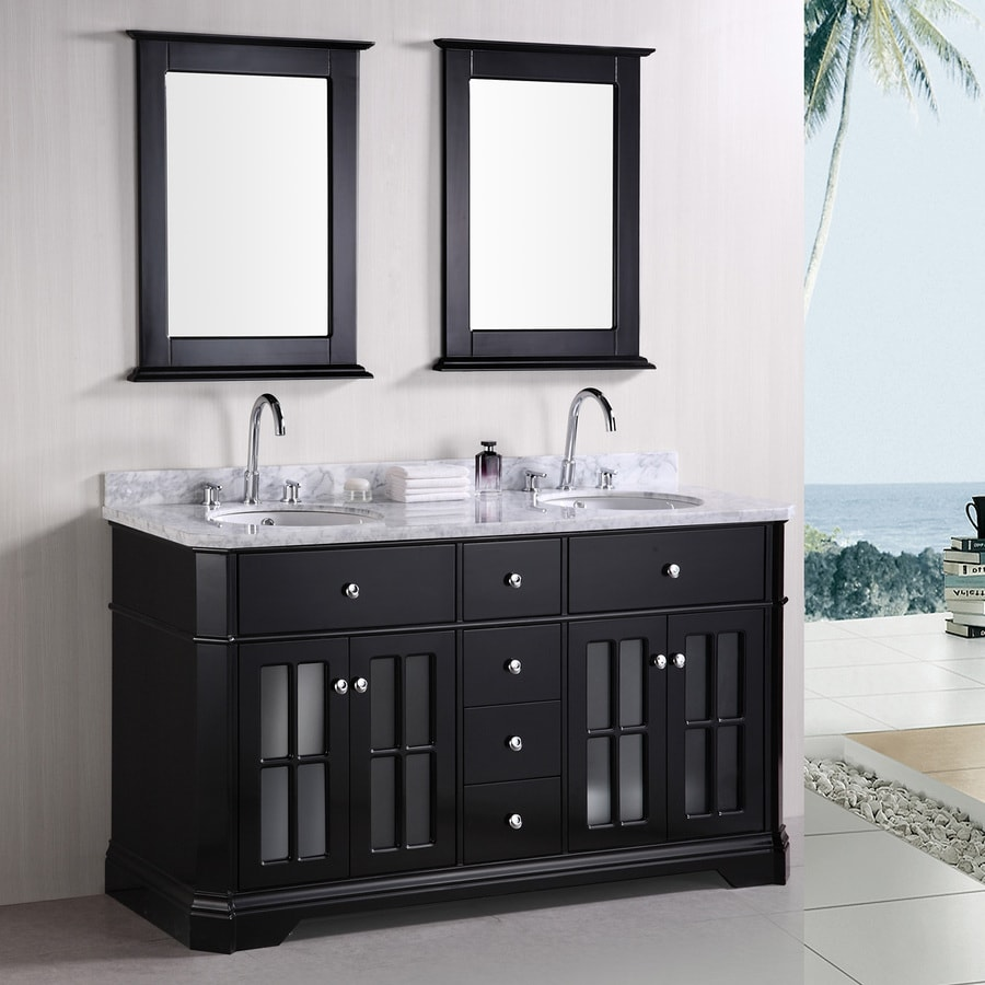Design Element Imperial Espresso Undermount Double Sink Oak Bathroom Vanity with Natural Marble Top (Mirror Included) (Common: 60-in x 22-in; Actual: 60-in x 22-in)