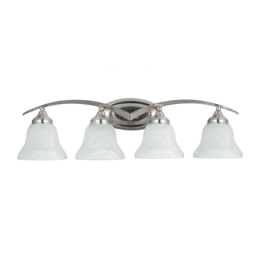 4 Light Brushed Nickel Vanity Lights : Shop Sea Gull Lighting 4-Light Brockton Brushed Nickel Bathroom Vanity Light at Lowes.com