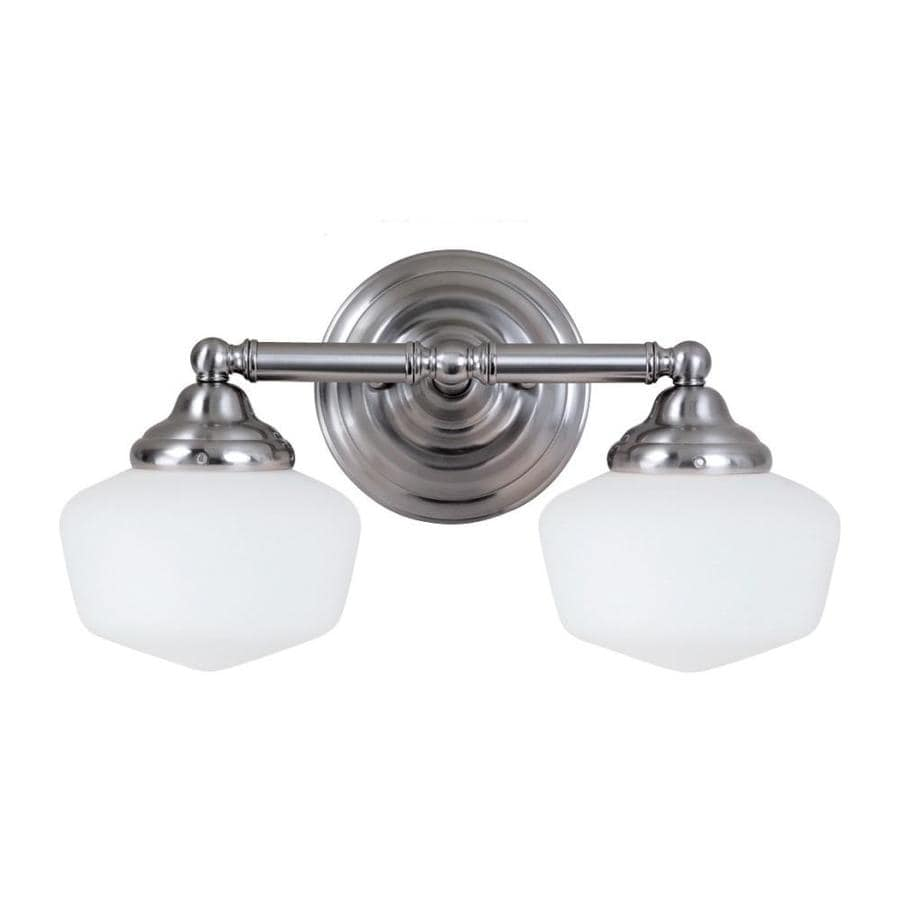 Shop sea gull lighting 2 light academy brushed nickel for Bathroom 2 light fixtures