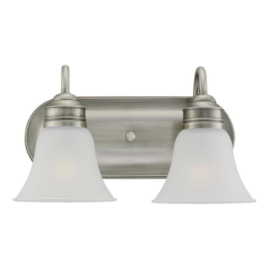 Shop sea gull lighting 2 light gladstone antique brushed for Bathroom 2 light fixtures