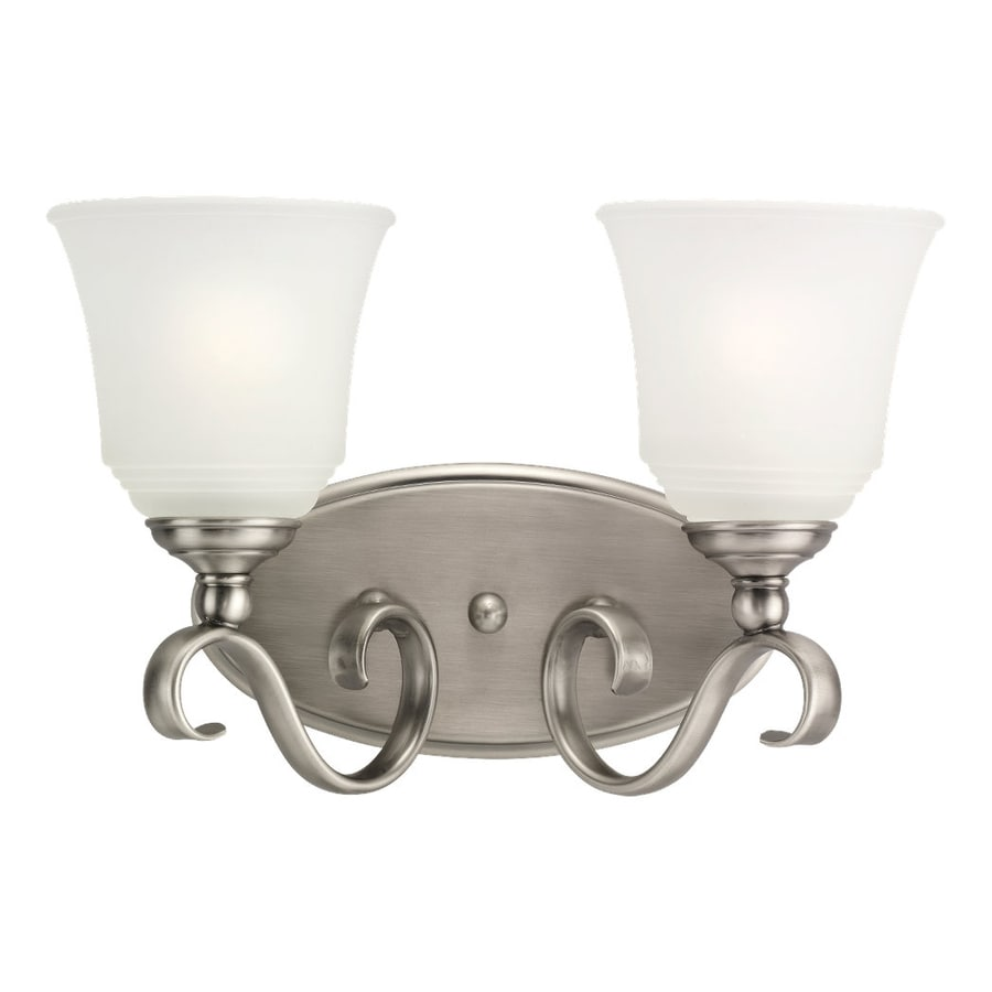 2 Light Vanity Light Brushed Nickel : Shop Sea Gull Lighting 2-Light Parkview Antique Brushed Nickel Bathroom Vanity Light at Lowes.com
