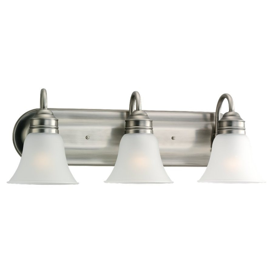 Shop sea gull lighting 3 light gladstone antique brushed for Vintage bathroom lighting fixtures
