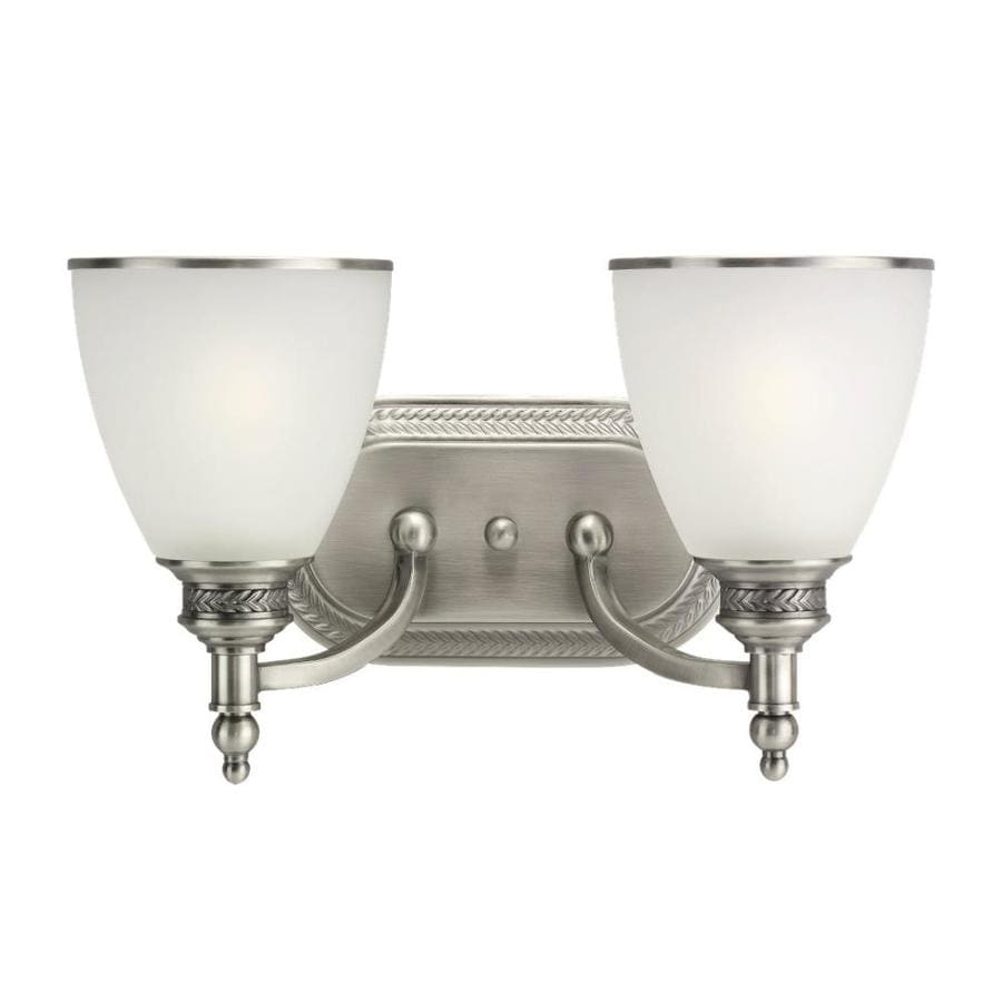 Shop Sea Gull Lighting 2 Light Laurel Leaf Antique Brushed Nickel Bathroom Vanity Light At
