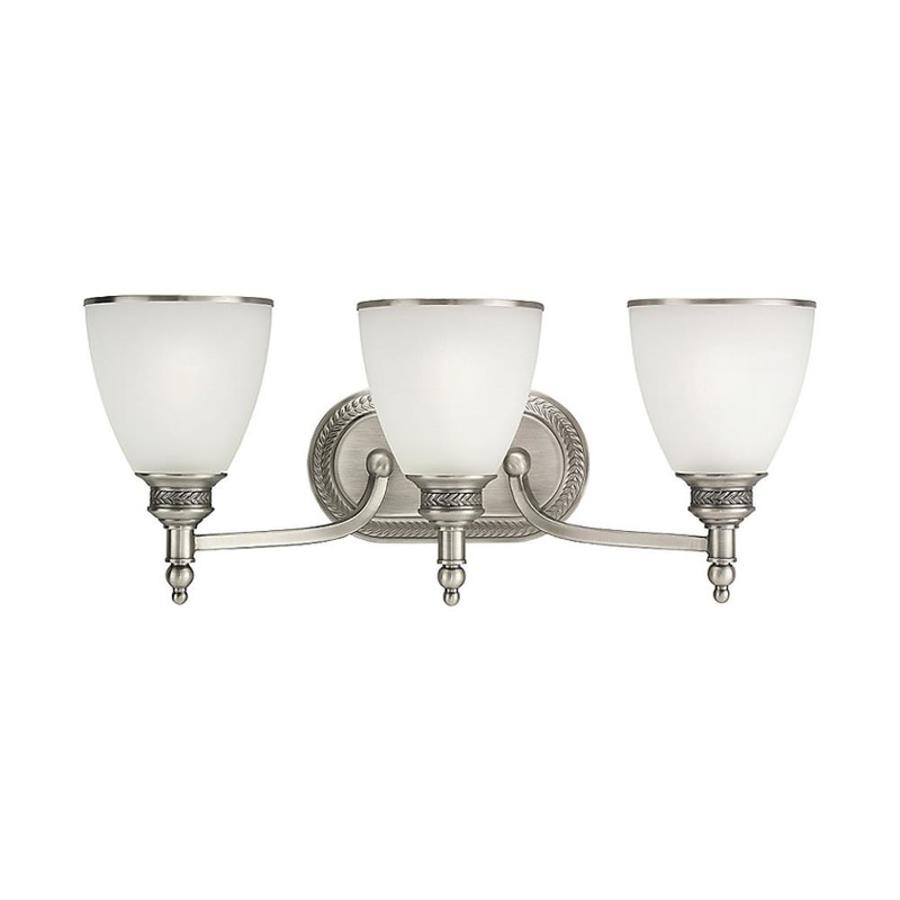 Shop Sea Gull Lighting 3 Light Laurel Leaf Antique Brushed Nickel Bathroom Vanity Light At