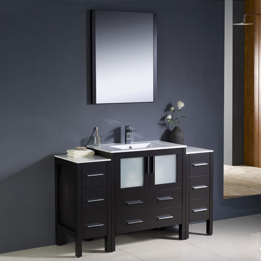 Fresca Bari Espresso Undermount Single Sink Bathroom Vanity with Ceramic Top (Faucet and Mirror Included) (Common: 55-in x 18-in; Actual: 54-in x 18.13-in)
