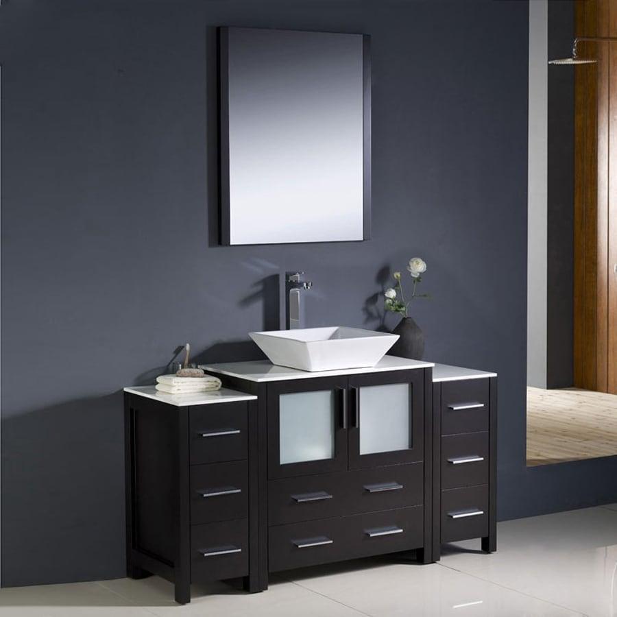 Fresca Bari Espresso Vessel Single Sink Bathroom Vanity with Ceramic Top (Faucet and Mirror Included) (Common: 55-in x 18-in; Actual: 54-in x 18.13-in)