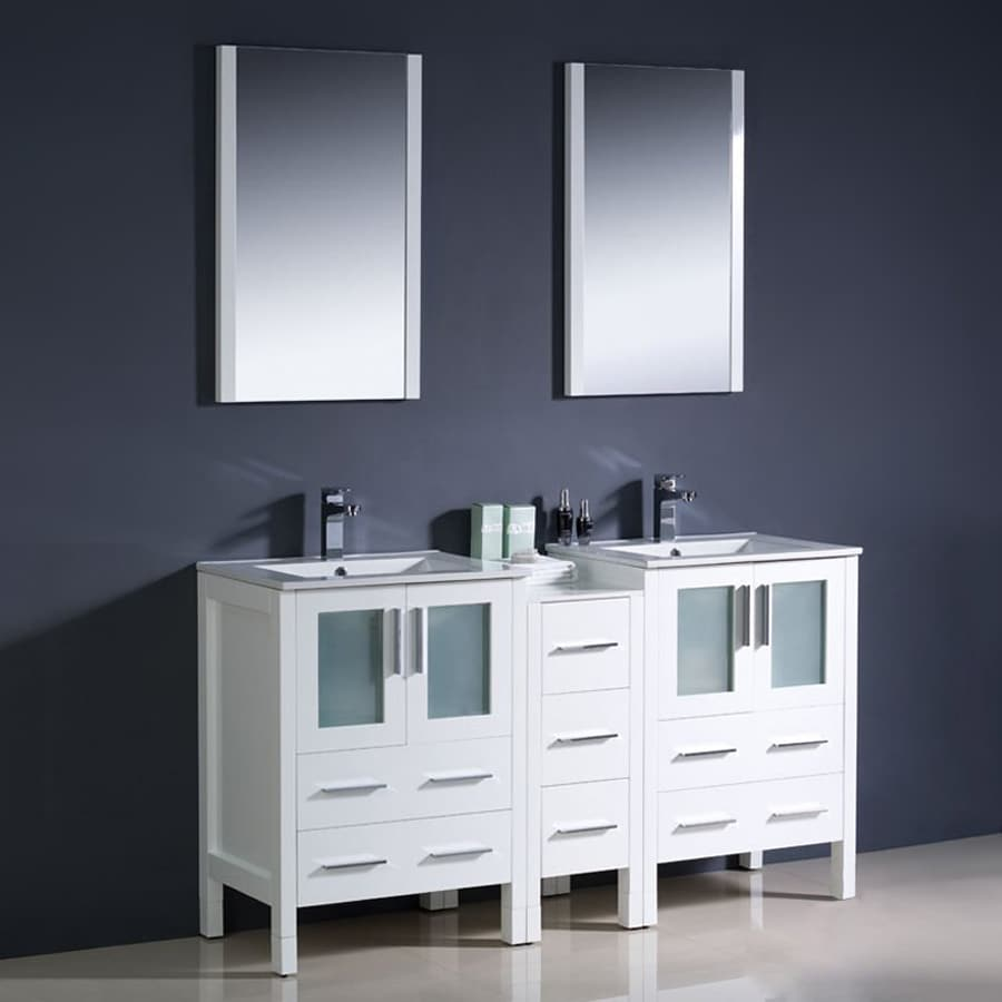 Shop Fresca Bari White Undermount Double Sink Bathroom Vanity With Ceramic To