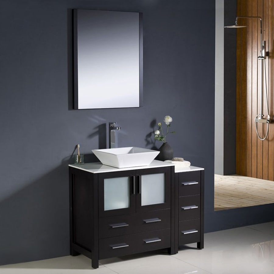 Fresca Bari Espresso Vessel Single Sink Bathroom Vanity with Ceramic Top (Faucet and Mirror Included) (Common: 42-in x 18-in; Actual: 42-in x 18.13-in)