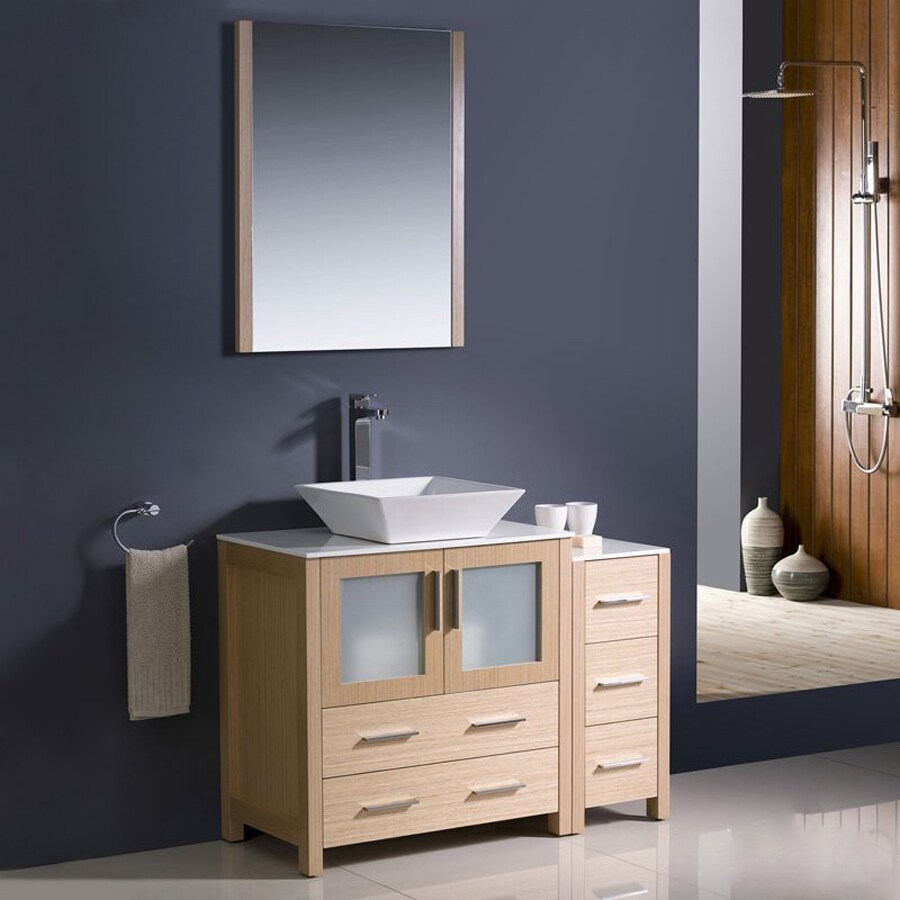 Fresca Bari Light Oak Vessel Single Sink Bathroom Vanity with Ceramic Top (Faucet and Mirror Included) (Common: 42-in x 18-in; Actual: 42-in x 18.13-in)