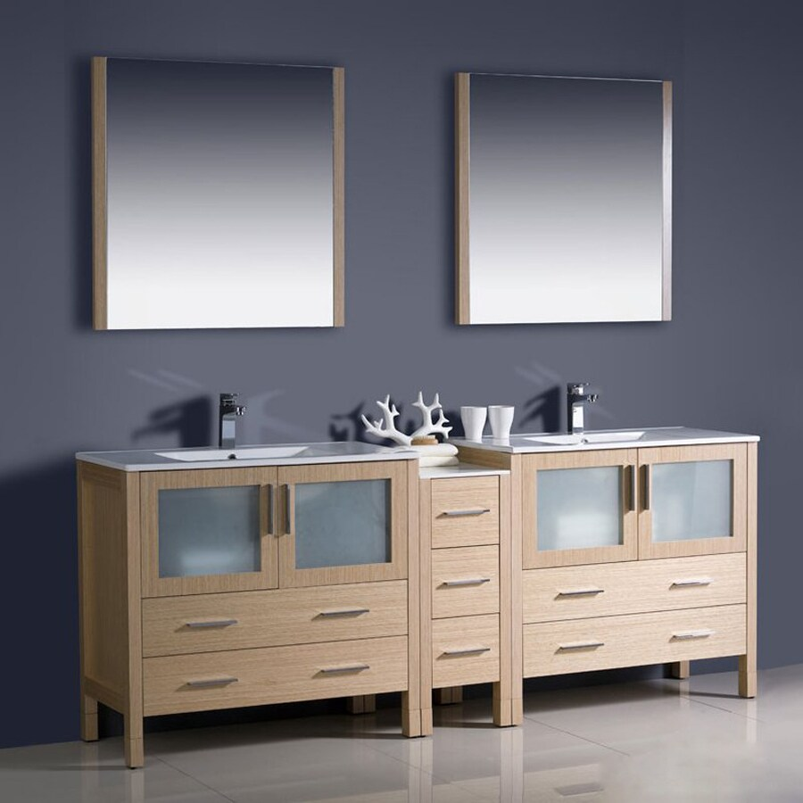 Fresca Bari Light Oak Undermount Double Sink Bathroom Vanity with Top (Faucet and Mirror Included) (Common: 34-in x 18-in; Actual: 83.5-in x 18.13-in)