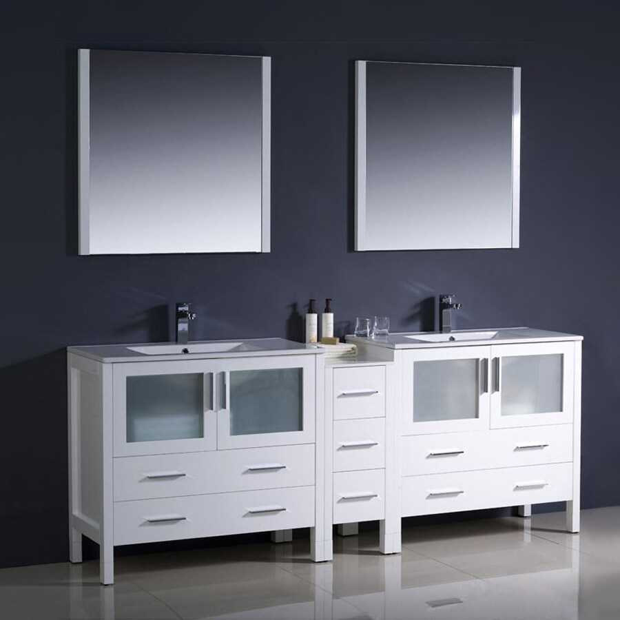 Fresca Bari White Undermount Double Sink Bathroom Vanity with Top (Faucet and Mirror Included) (Common: 34-in x 18-in; Actual: 83.5-in x 18.13-in)