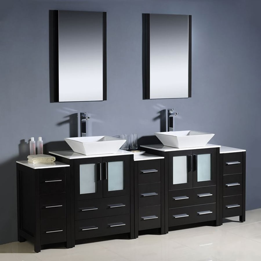 Fresca Bari Espresso Vessel Double Sink Bathroom Vanity with Ceramic Top (Faucet and Mirror Included) (Common: 36-in x 18-in; Actual: 84-in x 18.13-in)
