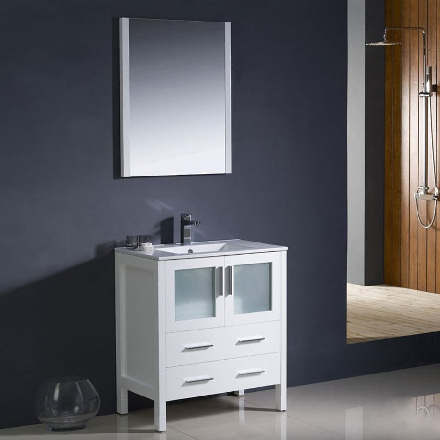 Fresca Bari White Undermount Single Sink Bathroom Vanity with Ceramic Top (Faucet and Mirror Included) (Common: 30-in x 18-in; Actual: 30-in x 18.13-in)