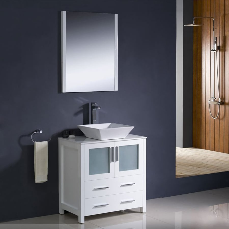 Fresca Bari White Vessel Single Sink Bathroom Vanity with Ceramic Top (Faucet and Mirror Included) (Common: 30-in x 18-in; Actual: 30-in x 18.13-in)
