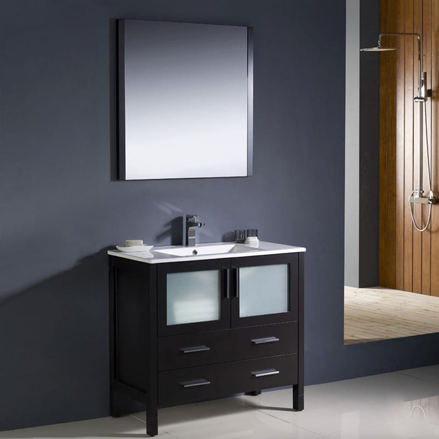 Fresca Bari Espresso Undermount Single Sink Bathroom Vanity with Ceramic Top (Faucet and Mirror Included) (Common: 34-in x 18-in; Actual: 35.75-in x 18.13-in)