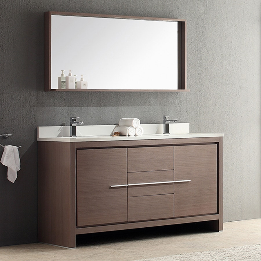 Fresca Trieste Gray Oak Undermount Double Sink Bathroom Vanity with Ceramic Top (Faucet and Mirror Included) (Common: 60-in x 20.5-in; Actual: 60-in x 20.5-in)