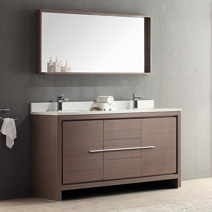 Shop Fresca Trieste Gray Oak Undermount Double Sink Bathroom Vanity With Ceramic Top Faucet And