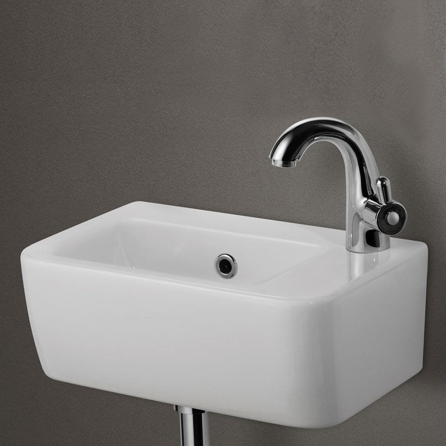 Shop alfi white porcelain wall mount rectangular bathroom sink with overflow at for White porcelain bathroom faucets