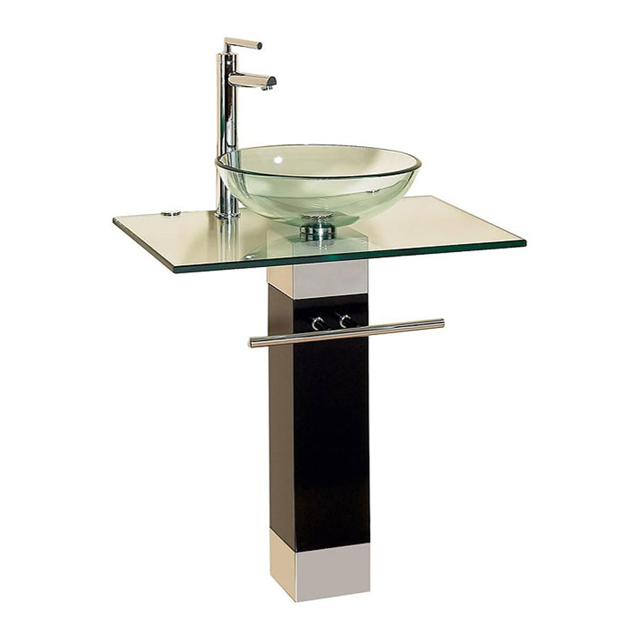 Vessel Single Sink Bathroom Vanity with Tempered Glass and Glass Top ...