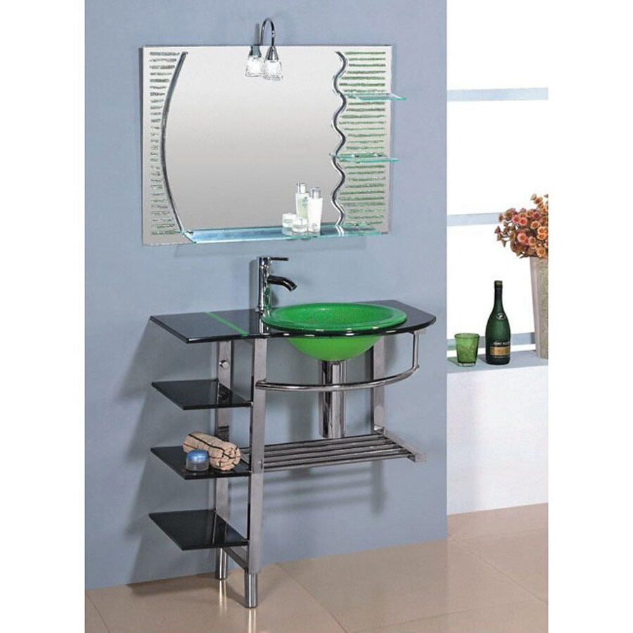 Kokols USA Green Drop-in Single Sink Bathroom Vanity with Tempered Glass and Glass Top (Faucet Included) (Common: 30-in x 19-in; Actual: 30-in x 18.75-in)