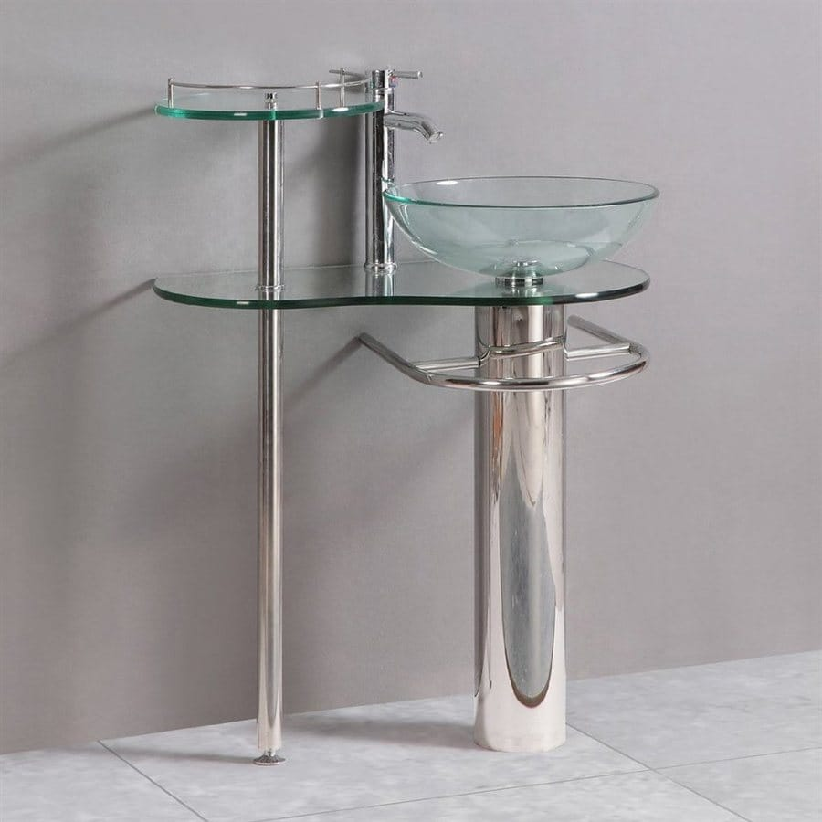 Clear Vessel Single Sink Bathroom Vanity with Tempered Glass and Glass ...
