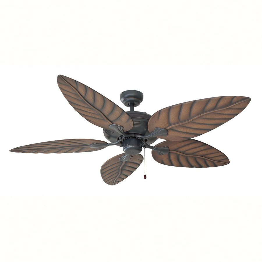 Design House Martinique 52-in Oil Rubbed Bronze Downrod Mount Indoor/Outdoor Ceiling Fan with Remote (5-Blade)