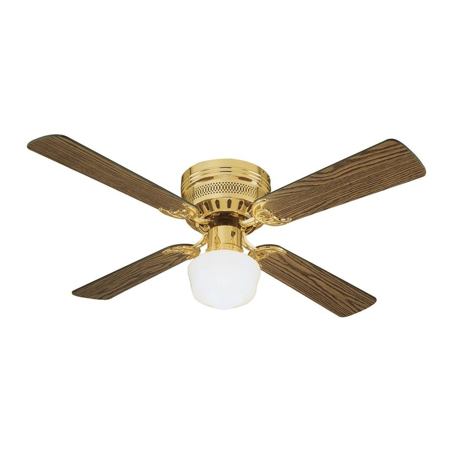... Polished Brass Flush Mount Indoor Ceiling Fan with Light Kit (4-Blade