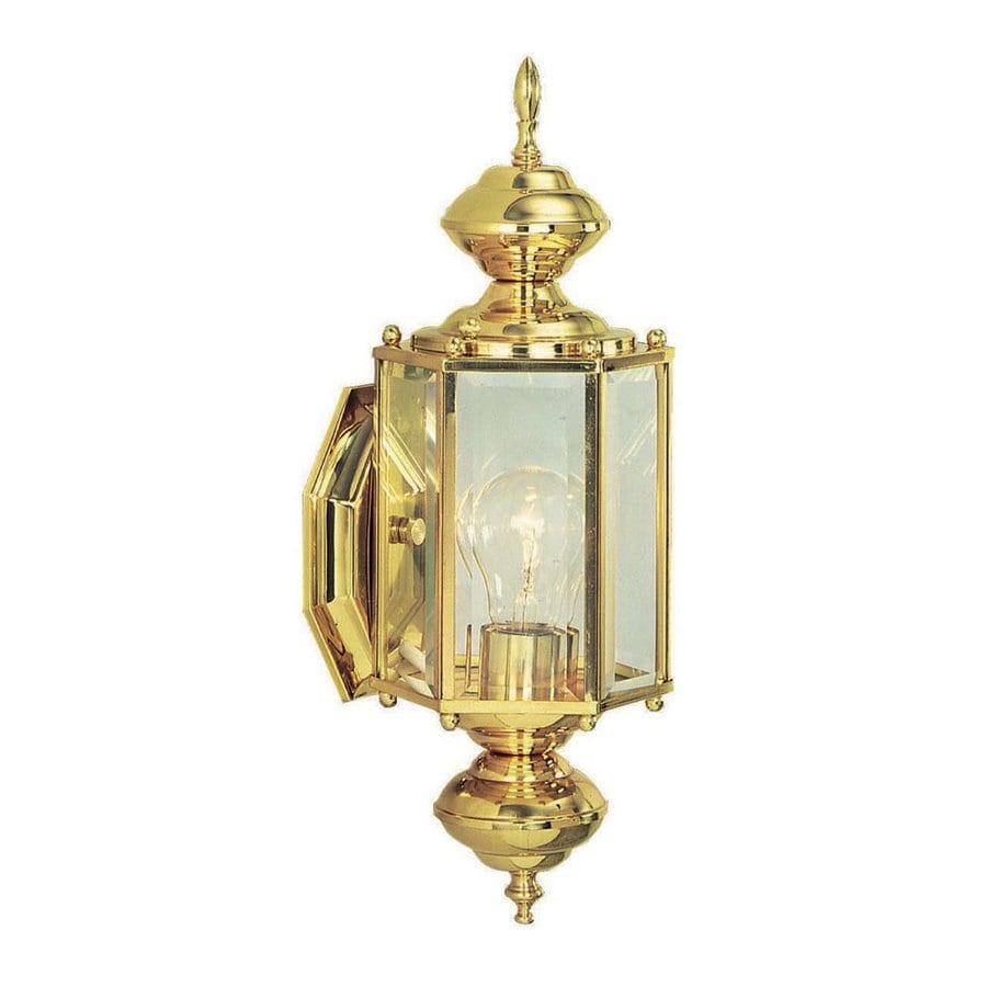 Shop Design House Augusta H Polished Brass Outdoor Wall Light At