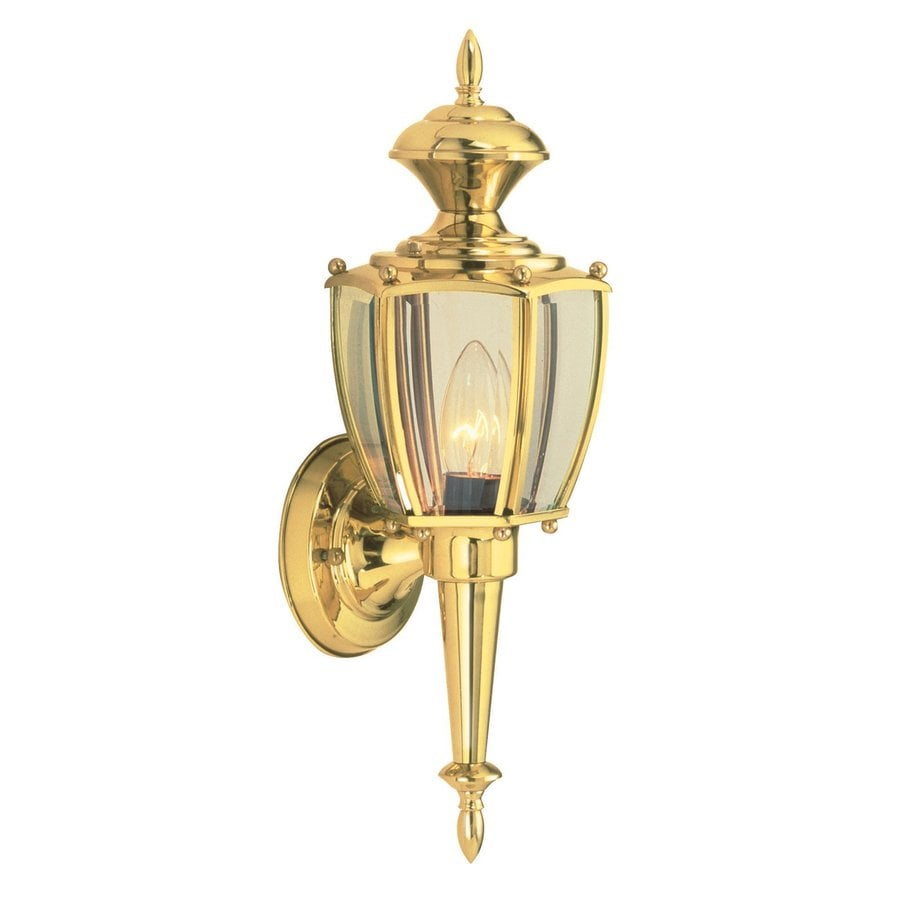 Exterior Wall Lights Brass : Shop Design House Jackson 17.25-in H Polished Brass Outdoor Wall Light at Lowes.com