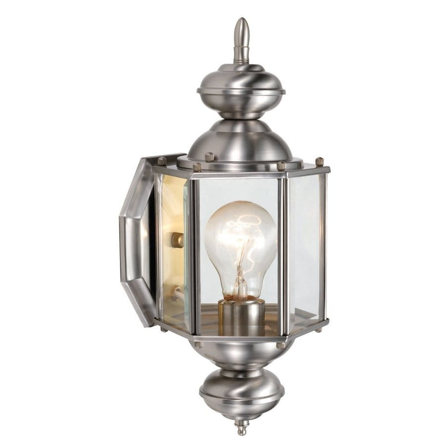 Design House Augusta 14.375-in H Satin Nickel Outdoor Wall Light