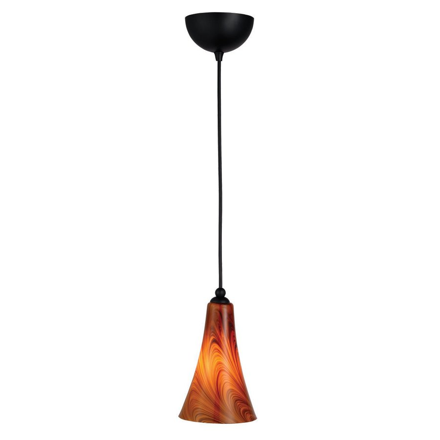 Design House Carson 5.375-in Oil Rubbed Bronze Mini Art Glass Bell Pendant
